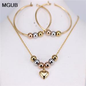 MGUB stainless steel beads necklace manual suit Earrings