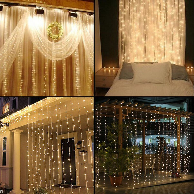 4.5M X3M 300 LED Koppar Gardin String Lights Holiday Xmas Decoration - Festlig belysning - Foto 4