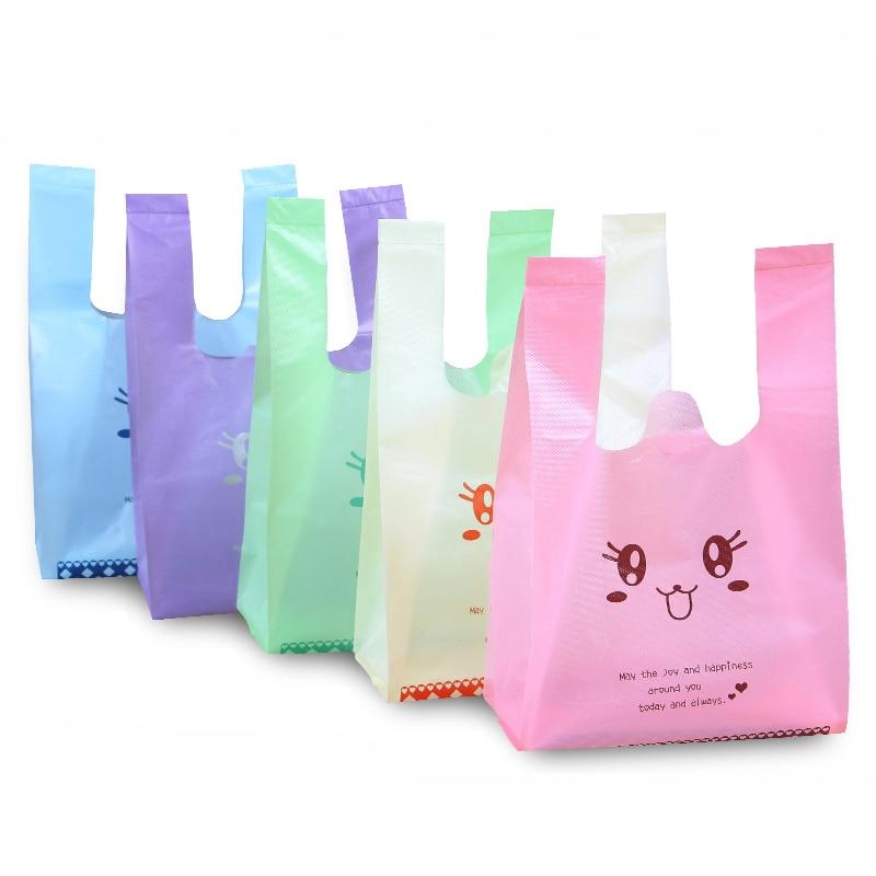 10pcs/pack Five Color Supermarket Shopping Bag Vest Bag Plastic Bags with Handle Snack Boutique Clothing Bag