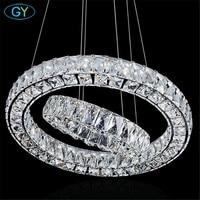 Modern 2 Rings Led Lustres Chandeliers Chrome Mirror Finish Stainless Steel Lampadari Moderni DIY Hanging Lampen