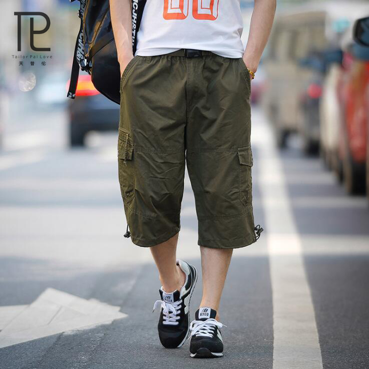 Tailor Pal Love Summer Mens Shorts Bermuda Leisure Solid Cotton Compression Male Cargo Shorts Multi-Pocket Men Short #V0