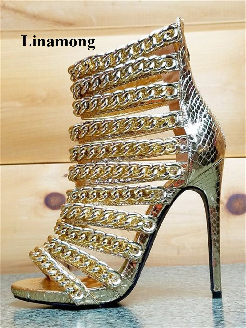 2018 Summer Thin High Heel Sandals Gold Color Metal zipper decoration Cover heel Rear zipper Casual Fashion Sandals Normal size miquinha red metal leaf decoration open toe mixed color cover heel women fashion thin heel super high casual sandalias mujer