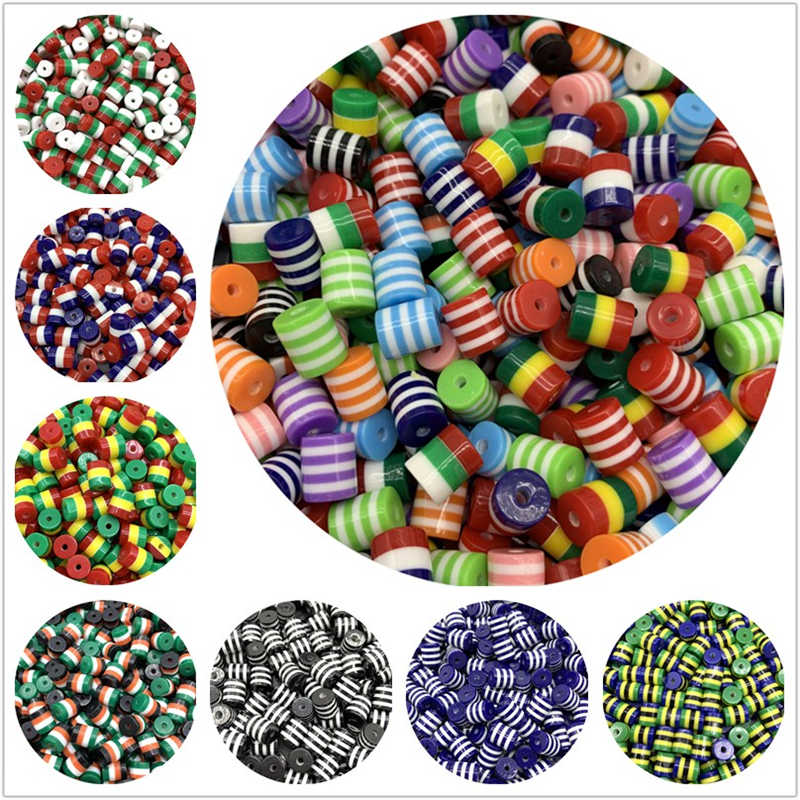 30pcs/Lot 8mm Cylinder Spacer Bead Stripe Resin Beads For Jewelry Making DIY Bracelet Necklace Charms Accessories