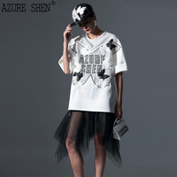 [AZURE SHEN]Tailor made Spring Loose Patch Design Female Shirt 2018 Fashion Embroidery Hollow Out Half Sleeve Top Tees AZT72