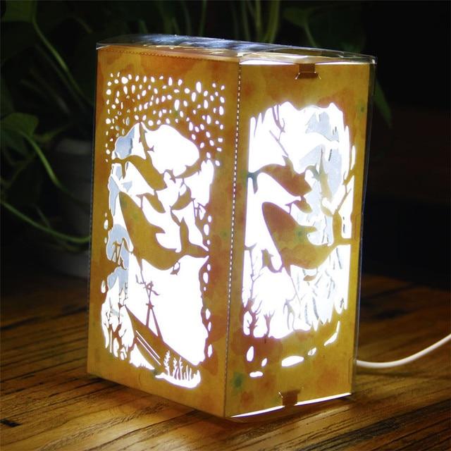 Night Light Luminaria Novelty Veilleuse Diy Paper Art Lights Children Lamp Cut Underwater World