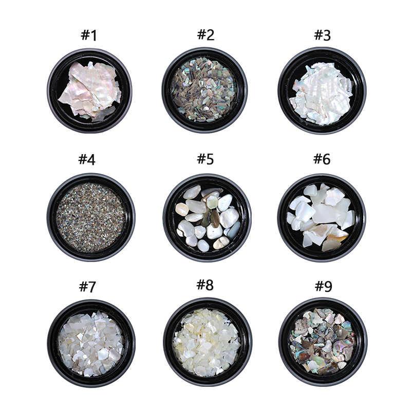Holografische Nail Seashell Natuursteen Dunne Vlokken Gemengde Size Patroon 3D Nail Art Decoraties Accessoires voor Nagels Ontwerp
