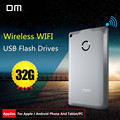 DM WFD009 Drives Flash USB 32 GB WI-FI Sem Fio Para iPhone/Android/Smart PC Memória Pen Drive Usb Stick Multiplayer Com Share