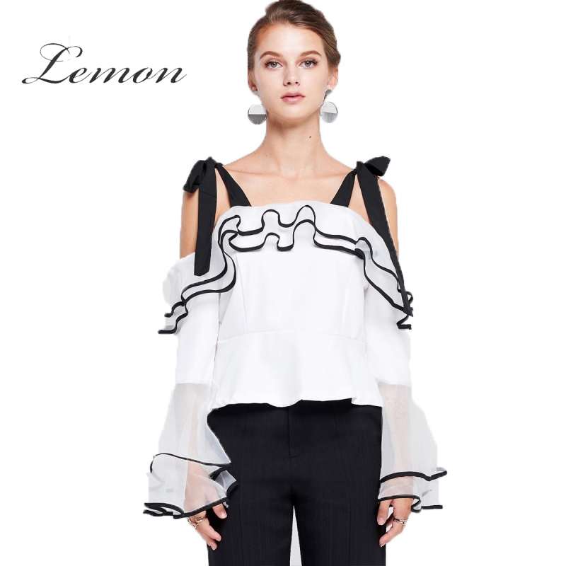 Lemon Marie Shoulder Tie Ruffle Women Blouses Solid White Patchwork Backless Split Female Sweet Shirts Lady Sexy Shirts