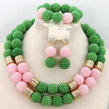 Delicate Green/Pink Balls African Wedding Beads Bridal Jewelry Sets Hot Nigerian Party Beads Necklace Set Free Shipping AIJ134