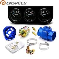 CNSPEED Triple Oil Pressure Gauge Kit Temperature Water Temperature Gauge with Oil Filter Sandwich Water Adapter and Temperature
