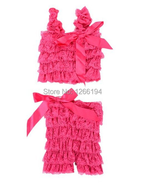 Summer Style Baby Girl Lace Posh Petti Ruffled Rompers Dancewear Set With Straps Hot Pink Top And Short Set Free Shipping