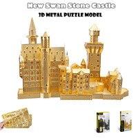 Piececool 3D Metal Puzzle Of New Swan Neuschwanstein Castle Gold Silver 3D DIY Famous Building Model