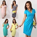 2016 Summer Dresses V-Neck Sexy Premama Clothes For Pregnant Women Maternity Pure Color Dress