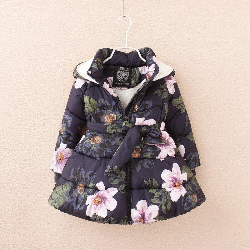 Детская флисовая куртка с капюшоном, теплая парка с цветочным принтом, для девочек, 2019