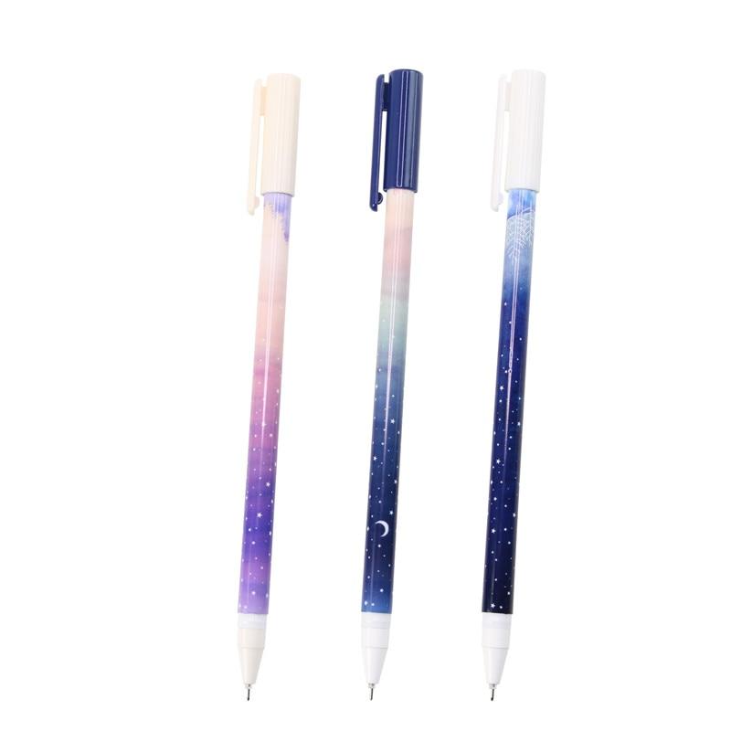 3 X Fantastic Galaxy Star Sky Long Handle Gel Pen Writing Signing Pen School Office Supply Student Stationery Kids Rewarding