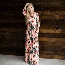 2018 Для женщин модная одежда с длинными рукавами летнее платье макси женские пикантные Цветочный принт длинное платье Повседневное женские длинные вечерние платье fld718