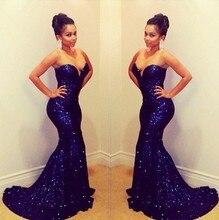 Custom Made Royal Blue Shiny Beaded Mermaid Evening Dresses 2015 Vestidos De Fiesta Longo Free Shipping
