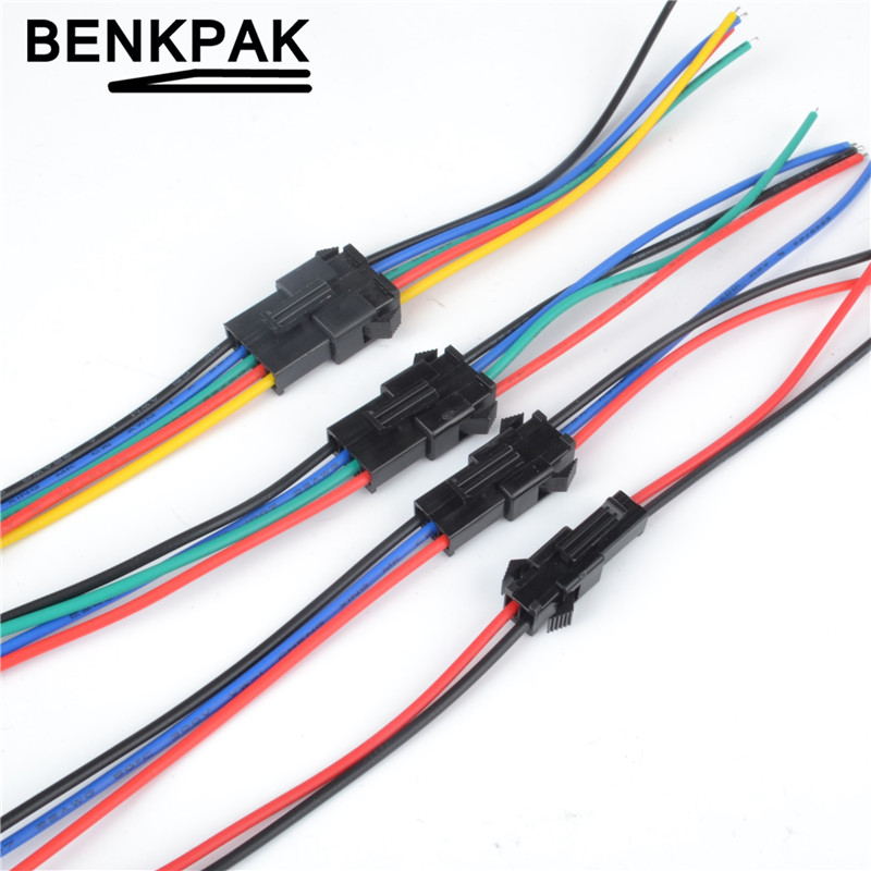 BENKPAK 10Pairs Long JST SM 2P 3P 4P 5P 6P Plug Male Female Wire Connector LED