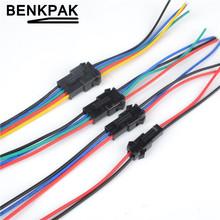 Promocja! 10 par długi JST SM 2 P 3 P 4 P 5 P 6 P wtyk męski na żeński złącze złącza LED tanie tanio Złącze drutu JST BENKPAK