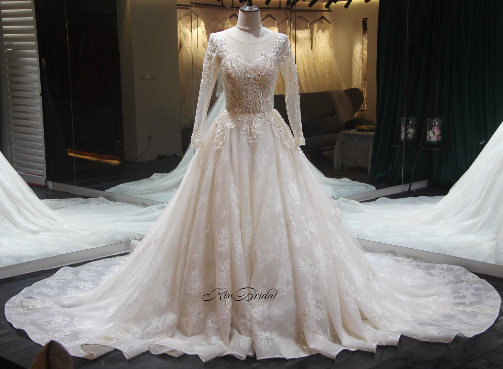 Robe de soriee New Long Wedding Dress 2018 Scoop Long Sleeves Vestido de casamento Bridal Gowns A line Appliques Wedding Gowns
