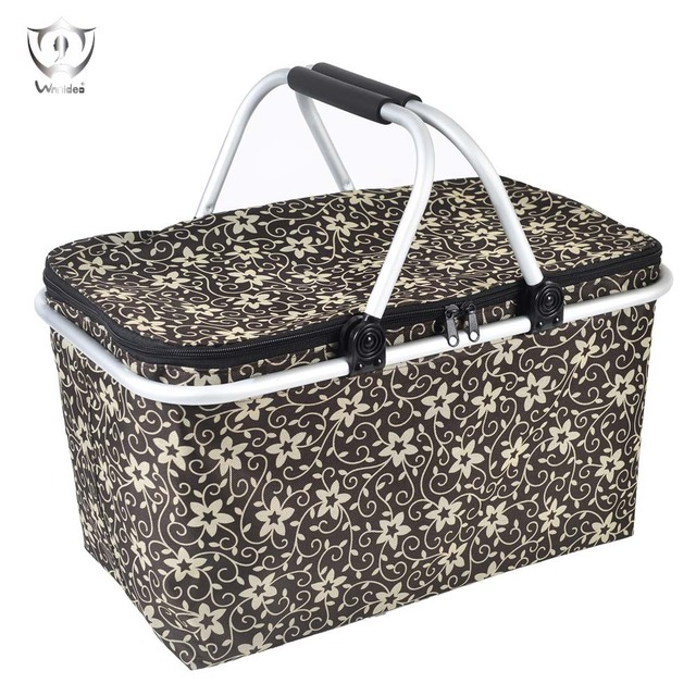 Insulated Folding Picnic Basket with Handles, Cooler Cool Bag Lunch Basket ZS8-44