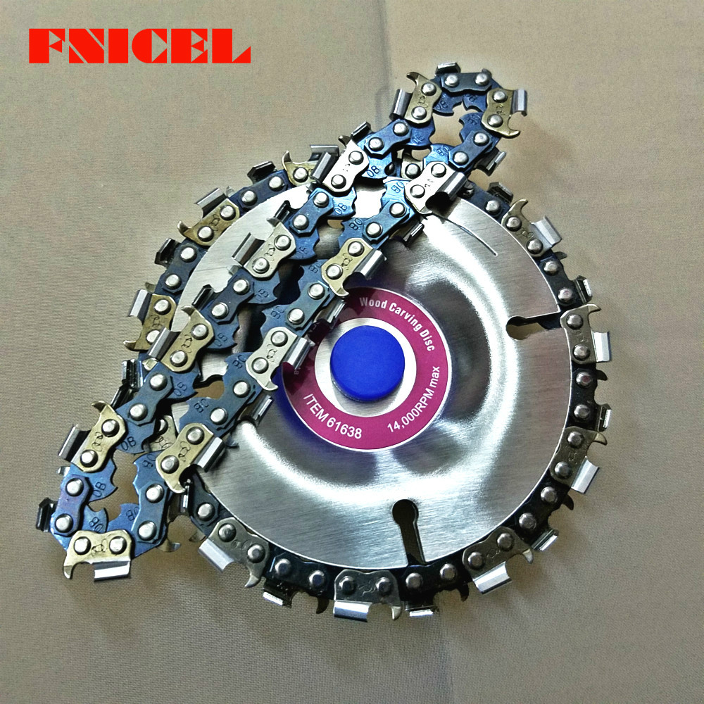 4 дюйма резьба по дереву дисковый, отрезает цепь 22 зуб шлифовальный диск тонкой бензопила комплект w/2 цепи для 100/115 угловая шлифовальная машина Wooking инструменты