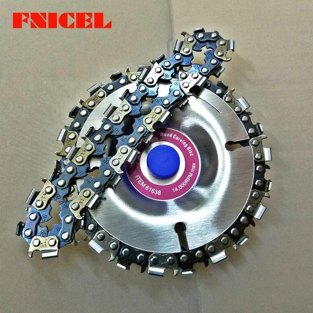 4 inç ahşap oyma disk kesim zinciri 22 diş taşlama diski ince testere seti w/ 2 zincirler 100/115 açı öğütücü Wooking araçları