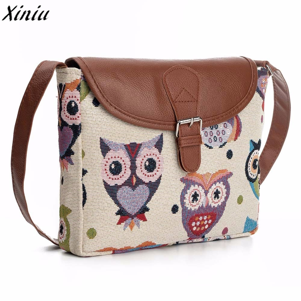 Women Handbag Owl Printed Leather Vintage Satchel Shoulder Bag Cute Casual Messenger Bag Bolsas De Couro *7620
