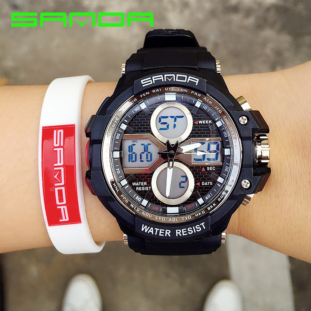 2017 Fashion SANDA Colorful Backlight LED Waterproof Dual Time Men Boy Children Digital Wrist Watch Hours