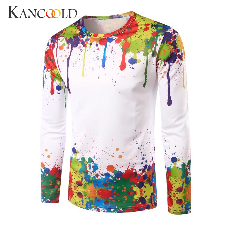 Funny 3D T-shirts Men Splashed paint ink T shirts 2017 New Long Sleeve Trend Character Round Neck Printed Quick Dry Tops 310
