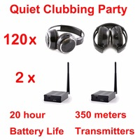 Silent Disco system stereo folding wireless headphones Quiet Clubbing Party Bundle (120 Headphones + 2 Transmitters)
