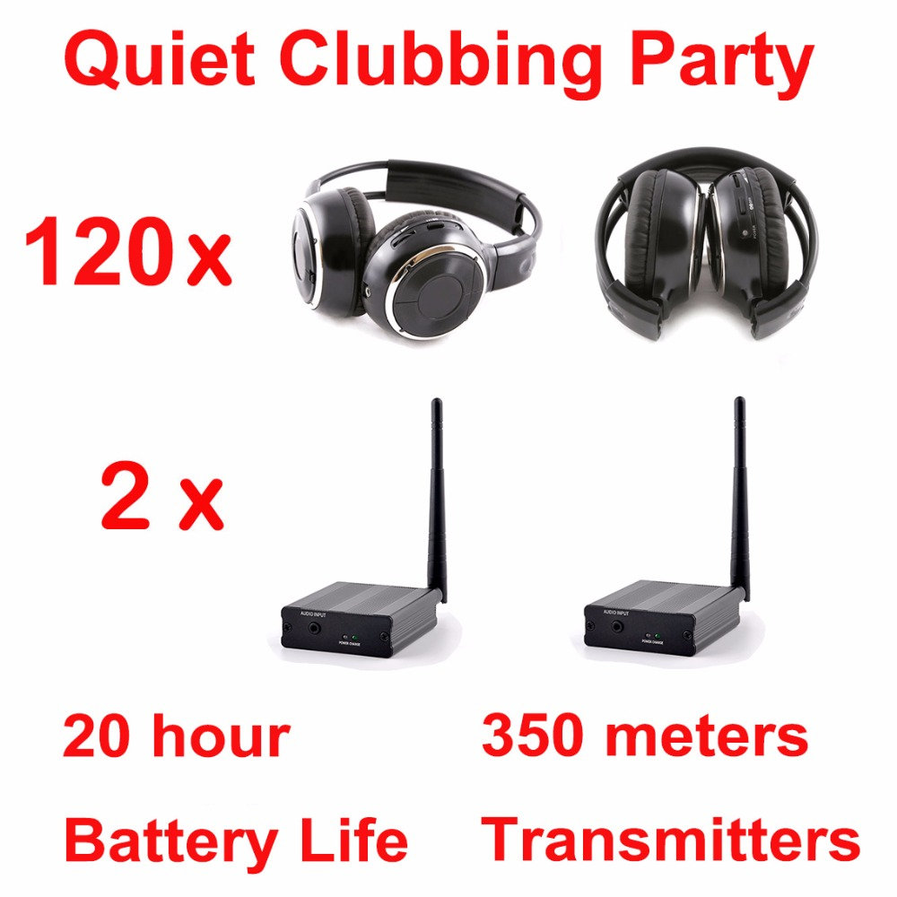 Silent Disco system stereo folding wireless headphones - Quiet Clubbing Party Bundle (120 Headphones + 2 Transmitters) lstn headphones lst12 headphones