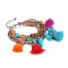 Trending Colorful Bohemia Multilayer Tassel Charms Bracelets for Women Resin Jewelry Accessories Rope