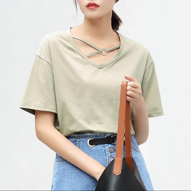 ea6fe64a4205 Yichaoyiliang Summer Korean Sweet V-neck Short Sleeve White T Shirt Sides  Slit bts Wonder Woman Candy Color Cute Tops Tees