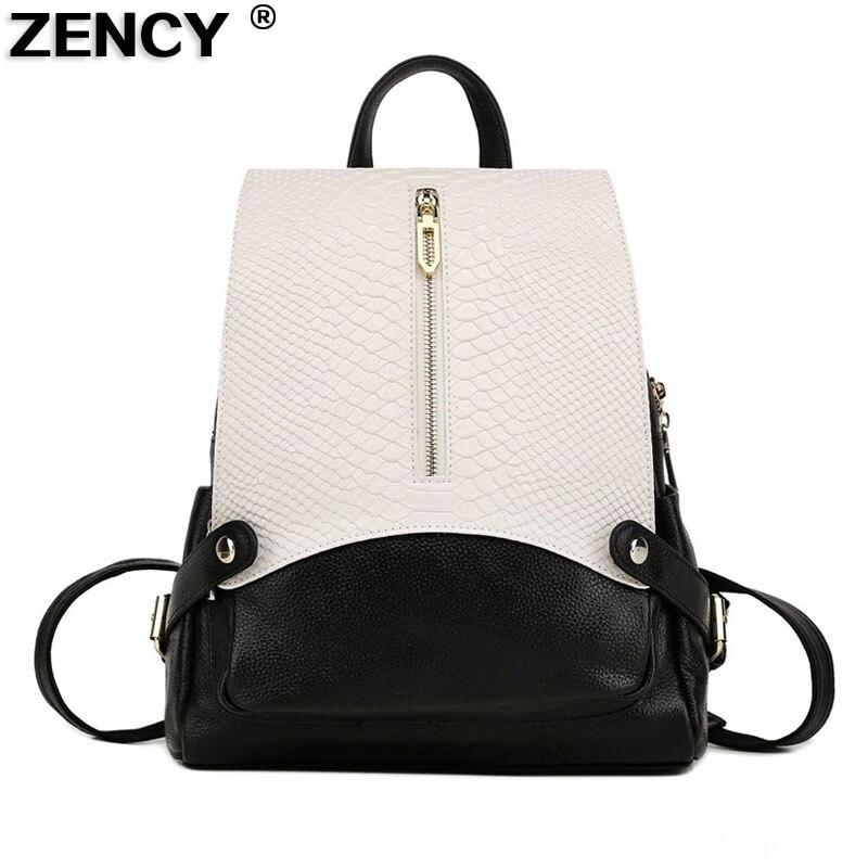 ZENCY 2020 Large Fashion Genuine Leather Crocodile Pattern Women's Backpacks Ladies' School Bag Female Cowhide Designer Backpack