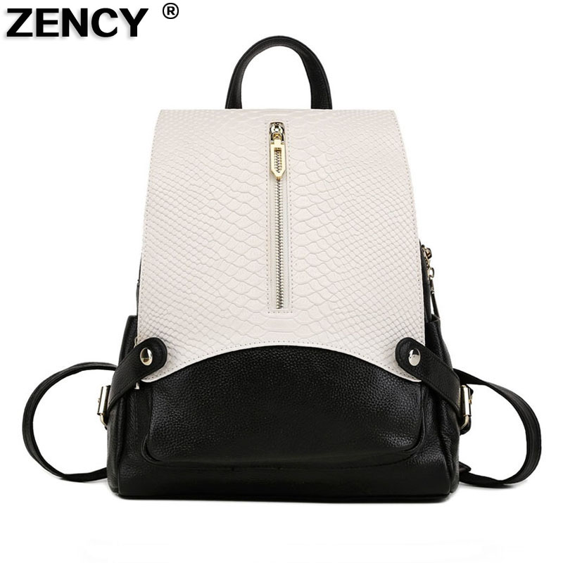Zency 2019 grande moda couro genuíno padrão de crocodilo mochilas femininas mochila feminina designer