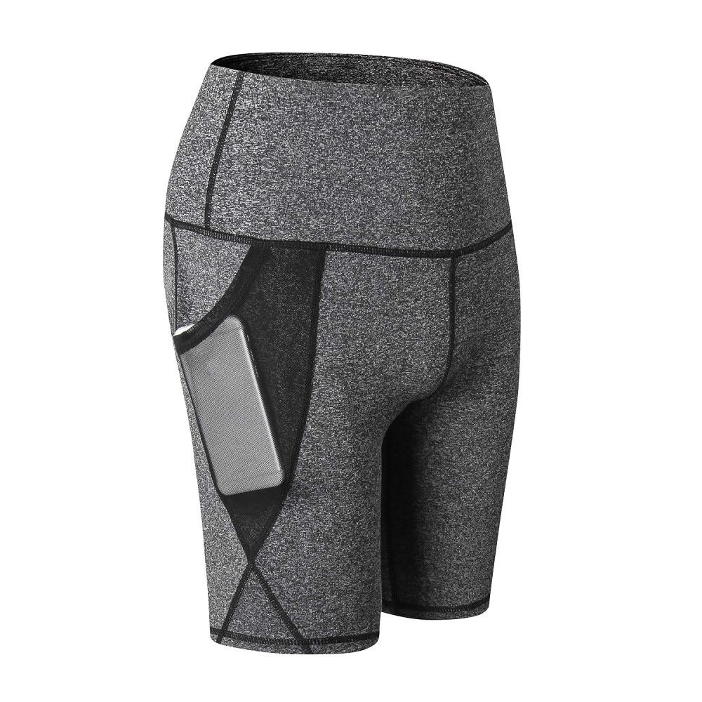 Women's Yoga Shorts Fashion Solid Color Slim Tights Running Fitness High Waist Mesh Pocket Sweatpants