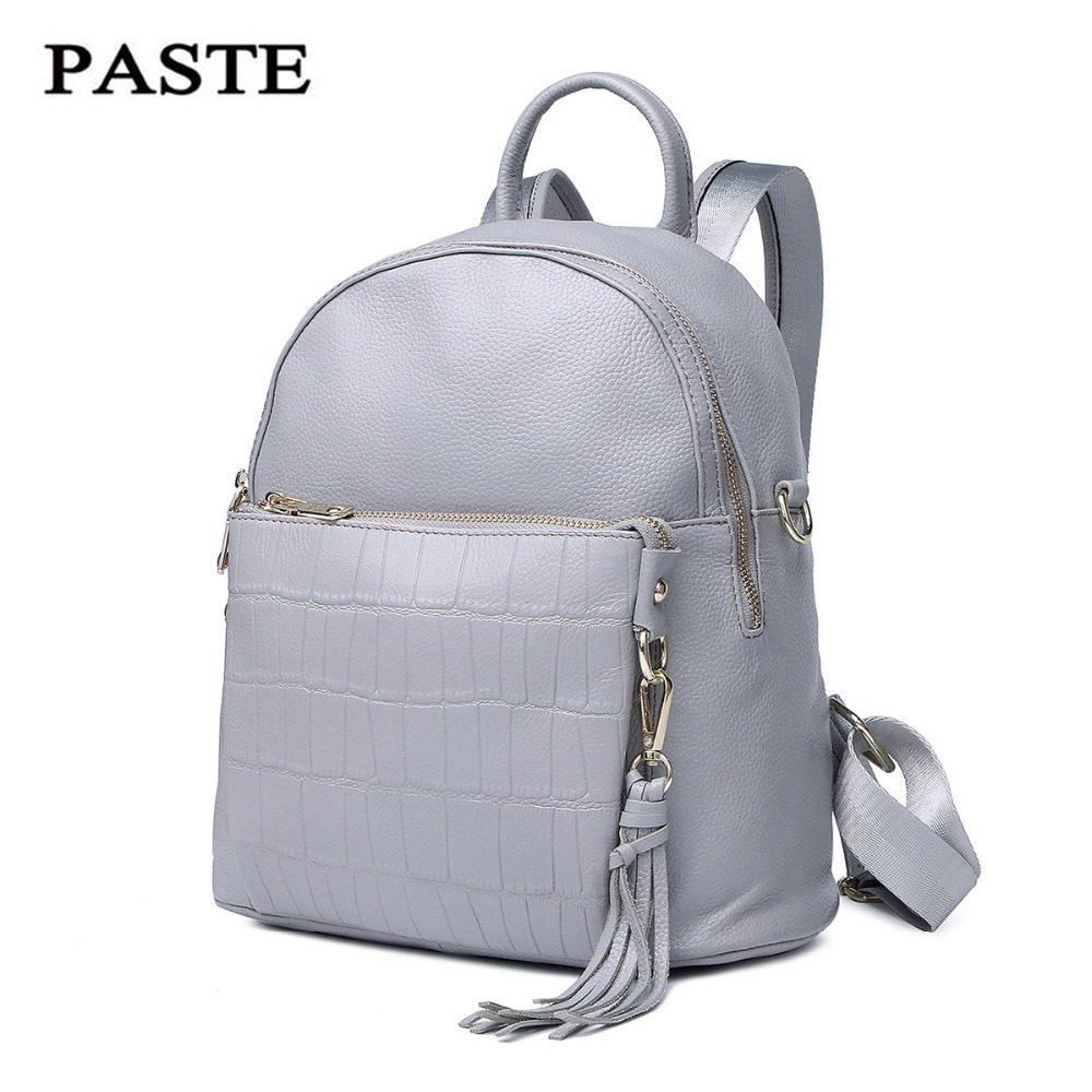 Genuine Leather backpack 2017 New Paste first layer of cowskin leather shoulder bag soft Fashion female Brand bag 7P0688 paste new leather handbags first layer of leather shoulder bag messenger bag handbag white casual bag female shoulder bag