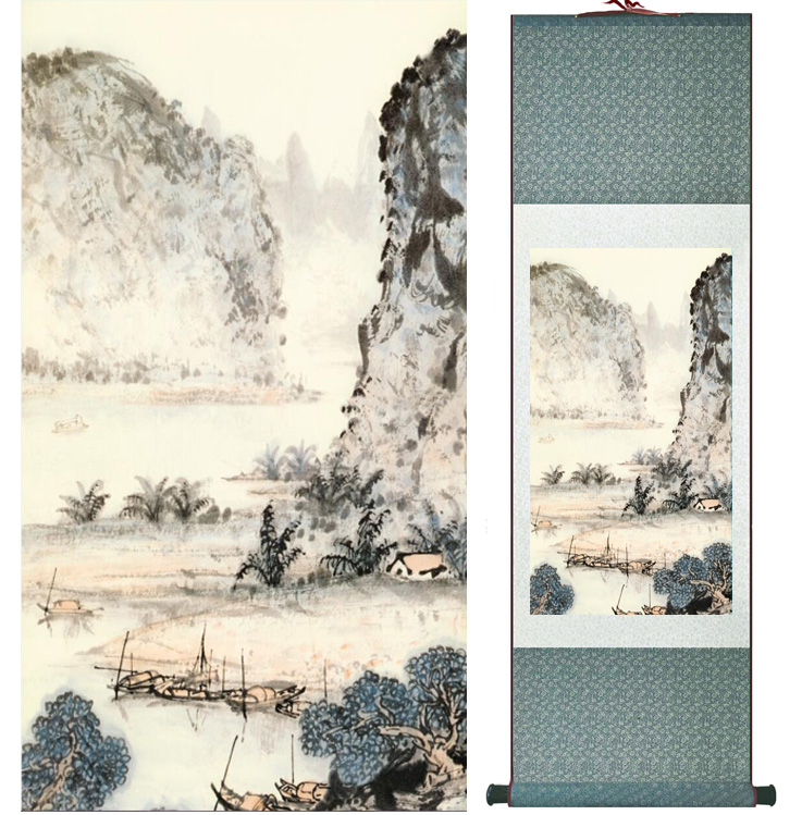 landscape painting Home Office Decoration Chinese scroll painting mountain and River paintingPrinted painting042603