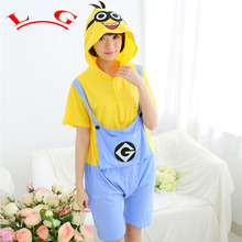 L G Summer Unisex Cotton Onesies For Adult Cut Animal Pajamas Onesies Adult Despicable Me Minion Onesie Hooded Pajama