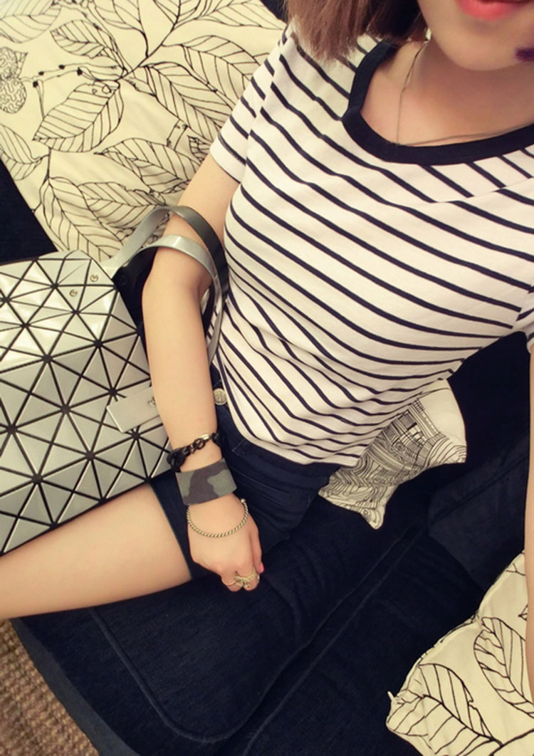 HTB1fIasXEAKL1JjSZFkq6y8cFXaE - FREE SHIPPING Ladies T shirt Sexy Crop Tops Striped Short JKP130
