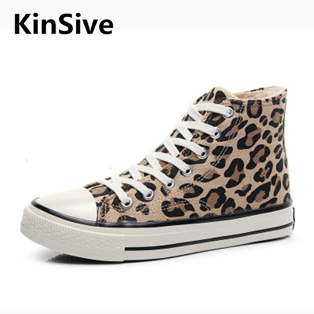 Fashion Spring Autumn Flat Casual Leopard Canvas High Sneakers Shoes Woman Flats Quality Female Casual Shoes Vulcanized Shoes