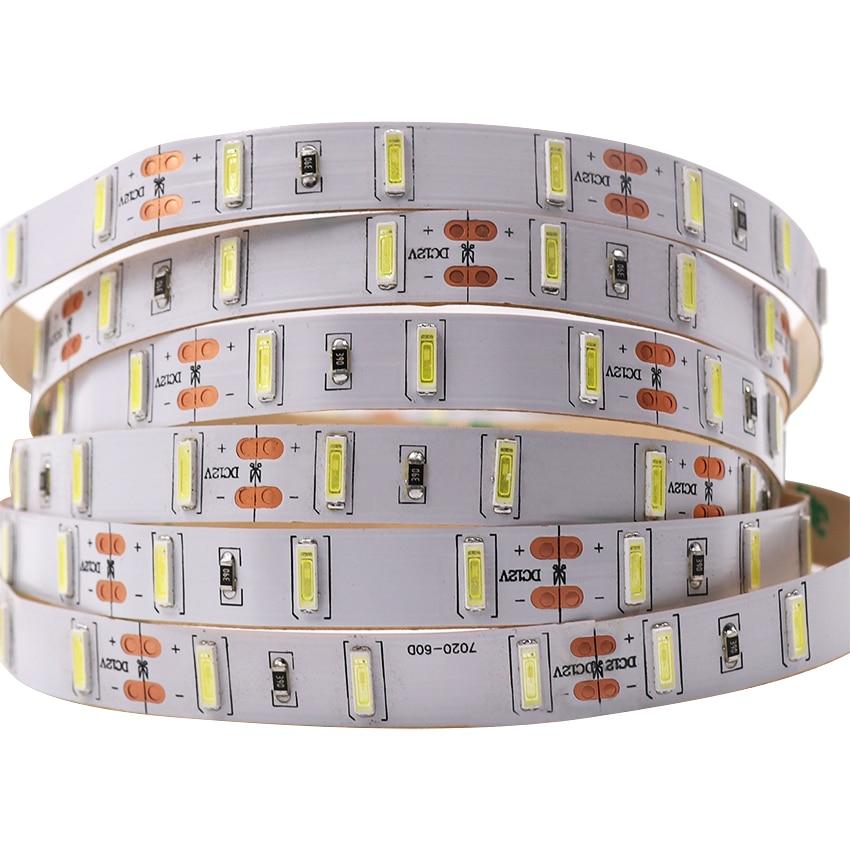 SAMSUNG Chip LED Strip 7020 SMD Ultra Bright Cold White Waterproof 12V 5m 60leds/m Stripe Light Brighter SMD 5630
