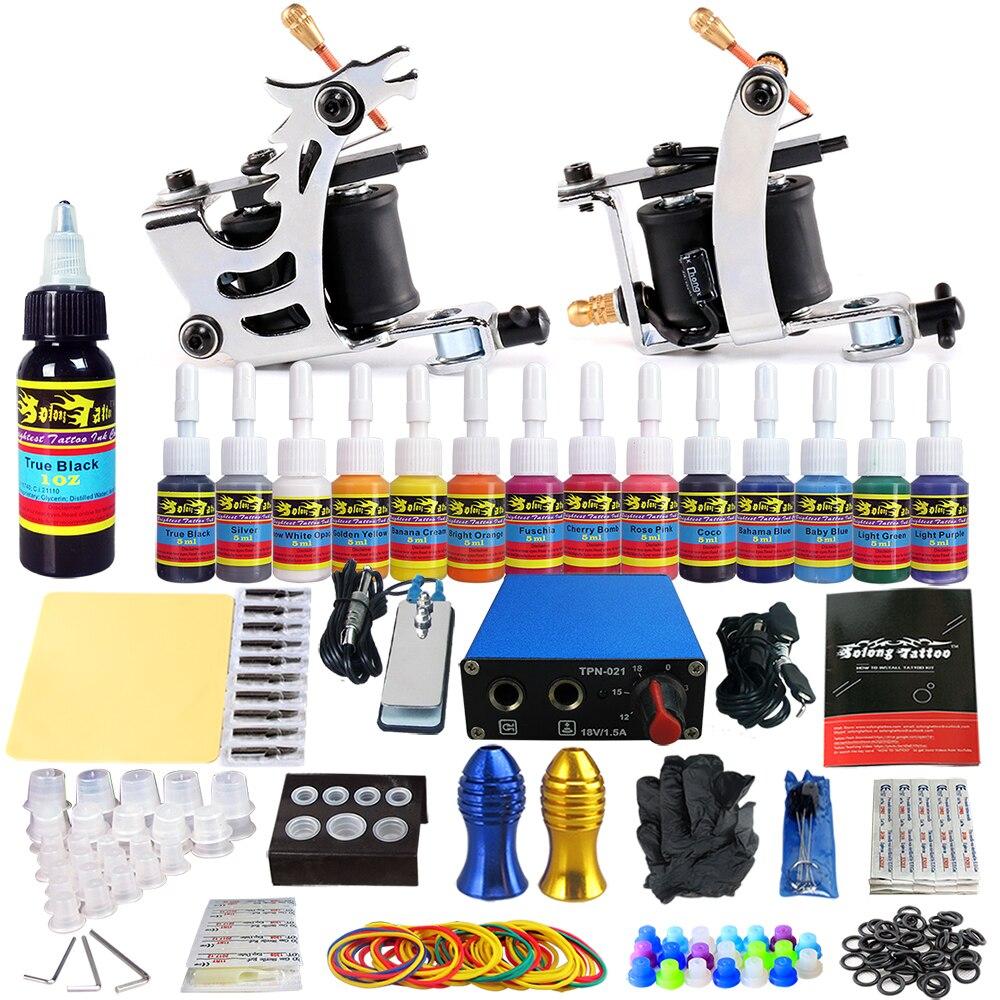 цена на Solong Tattoo Complete Starter Tattoo Kit 2 Professional Coil Machine Guns 14 Inks Power Supply Needles Tips Grips TK213
