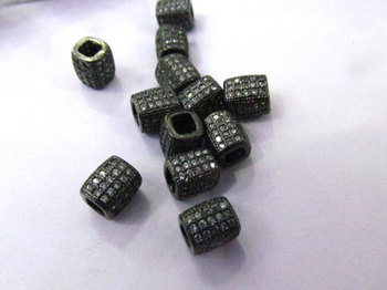 Large Hole--12pcs 6x9mm Micro Pave Diamond Connector Drum Barrel Hexagon Gunemtal Spacer Beads Findings