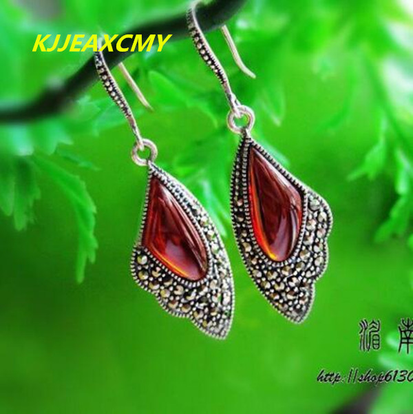 Thailand and the pure manual S925 pure silver Thai silver garnet agate retro earring earrings colorful female model s925 pure silver personality female models new beeswax