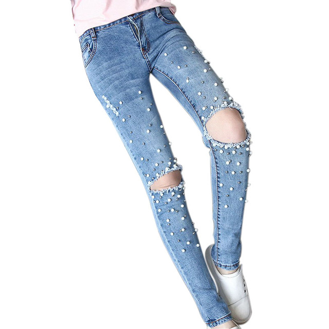 femmes jeans avec perles travail manuel perle pantalones vaqueros mujer mode trou d chir jeans. Black Bedroom Furniture Sets. Home Design Ideas