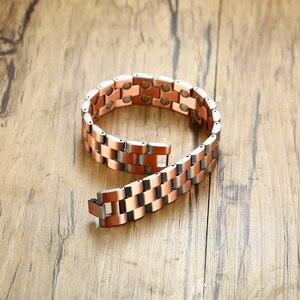 Image 4 - Vinterly magnetyczna bransoletka z miedzi mężczyźni Vintage Wrist Band bransoletka magnetyczna mężczyźni łańcuch ręczny zdrowie energia szeroka bransoletka dla mężczyzn