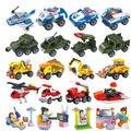 Qiaoletong de lucha contra incendios militar construcción policía de la muchacha 4 unids 12 modelos / lot Building Block Sets Educational DIY juguetes de los ladrillos