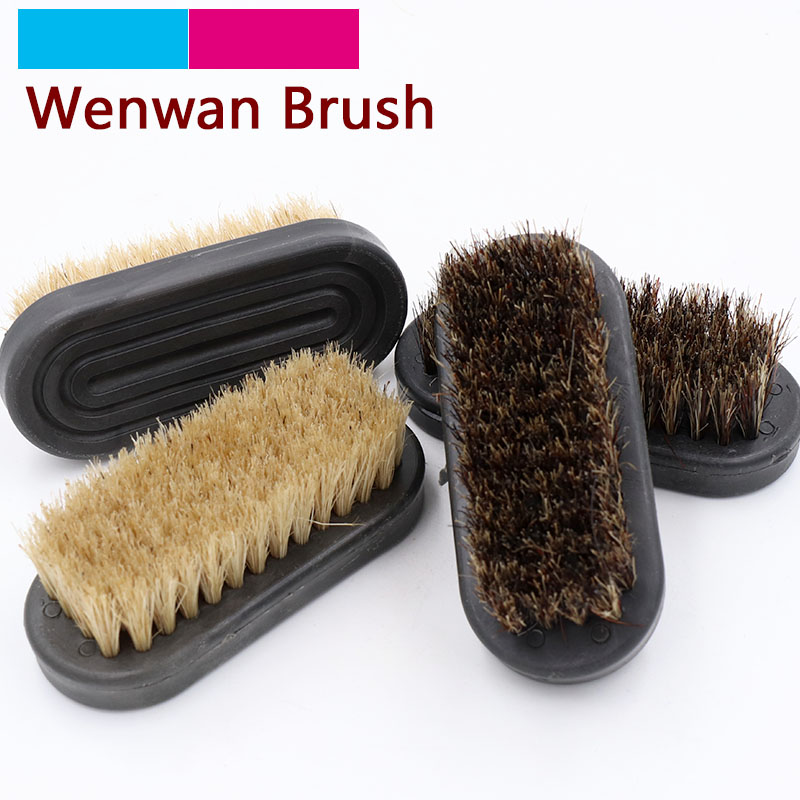 1pcs 38x87mm Wenwan Shoe Cleaning Boot Brush Pig Bristles Soft Hard Brush With Wood Handle Portable Home Cleaner Polishing Tools